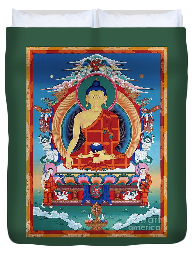 Thangka Duvet Cover featuring the painting Buddha Shakyamuni by Sergey Noskov