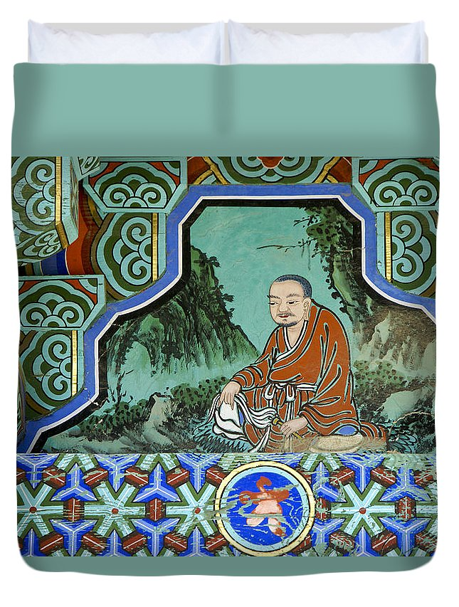 Buddha Duvet Cover featuring the photograph Buddhist Temple Art by Michele Burgess