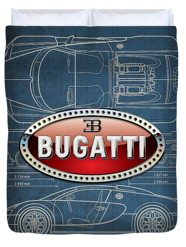 �wheels Of Fortune� By Serge Averbukh Duvet Cover featuring the photograph Bugatti 3 D Badge Over Bugatti Veyron Grand Sport Blueprint by Serge Averbukh
