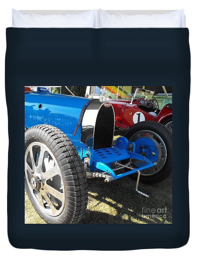 Bugatti Duvet Cover featuring the photograph Bugatti Racer by Neil Zimmerman