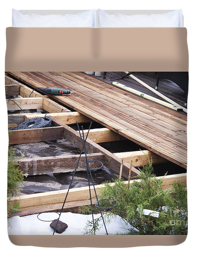 Wooden Duvet Cover featuring the photograph Building A Wooden Terrace by D R