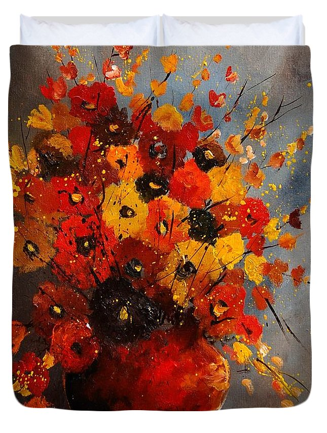 Flowers Duvet Cover featuring the painting Bunch 0708 by Pol Ledent