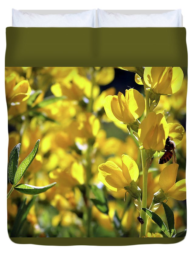Yellow Spring Flower Duvet Cover featuring the photograph Busy Bee by Rosalyn Zacha