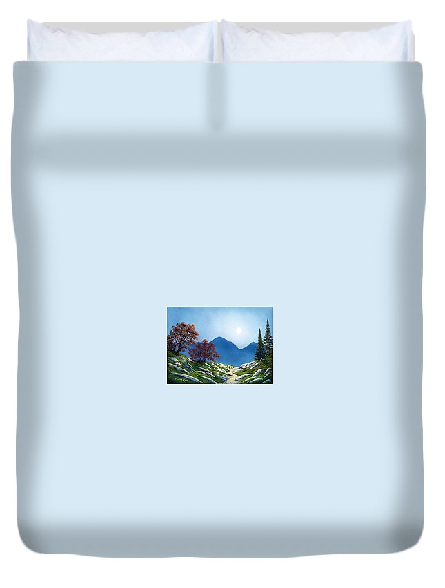Landscape Duvet Cover featuring the painting By The Light Of The Moon by Frank Wilson