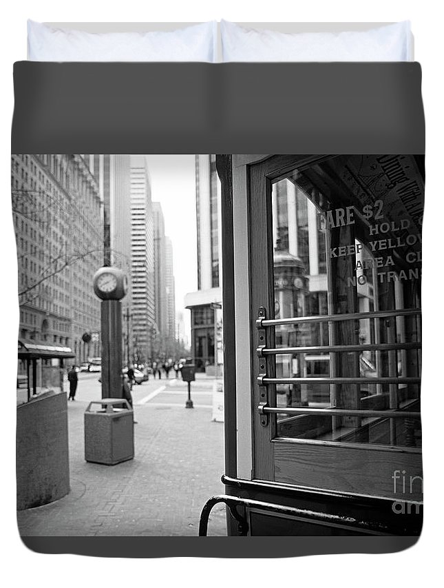 Travel Duvet Cover featuring the photograph Cable Car Downtown San Francisco by Jim Corwin