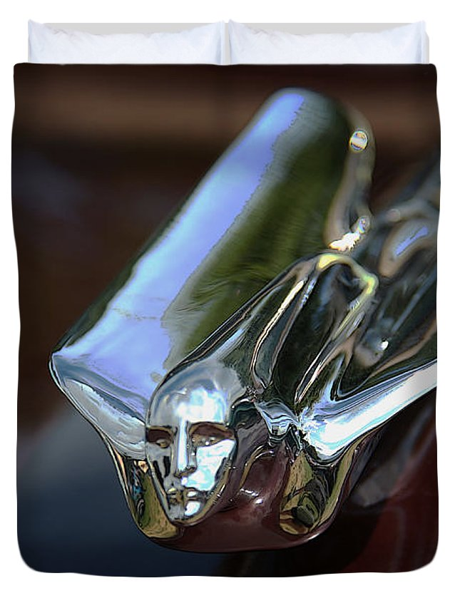 Duvet Cover featuring the photograph Cadillac - 1949 Hood Ornament by Yvonne Wright