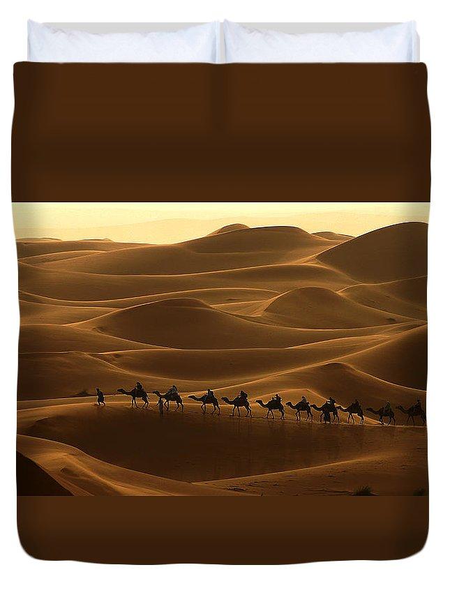Camel Duvet Cover featuring the photograph Camel Caravan In The Erg Chebbi Southern Morocco by Ralph A Ledergerber-Photography