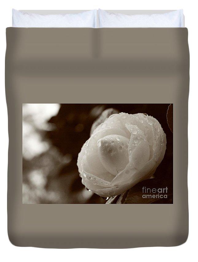 Bloom Duvet Cover featuring the photograph Camellia Japonica by Gaspar Avila