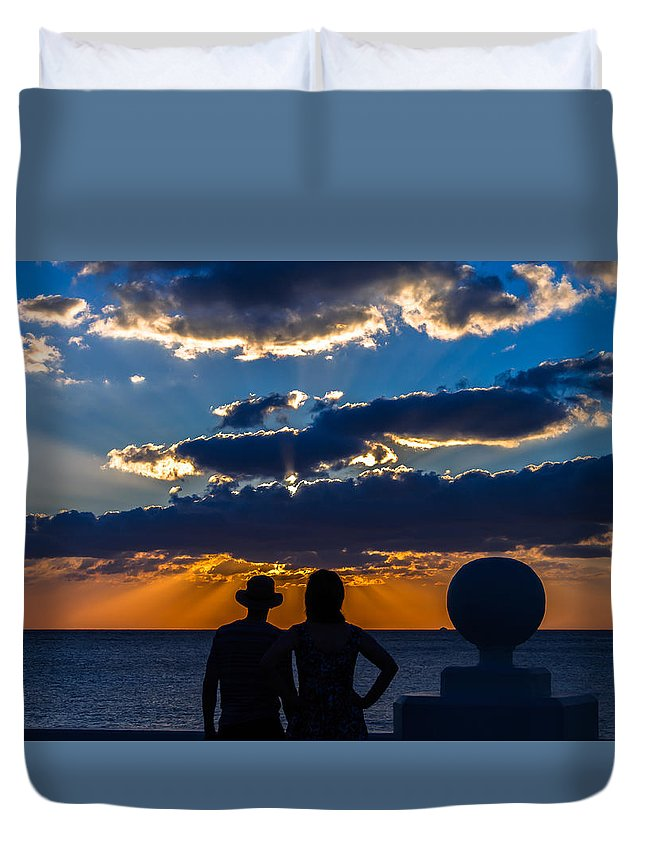 Susnet Duvet Cover featuring the photograph Can We Stay by Fred Boehm