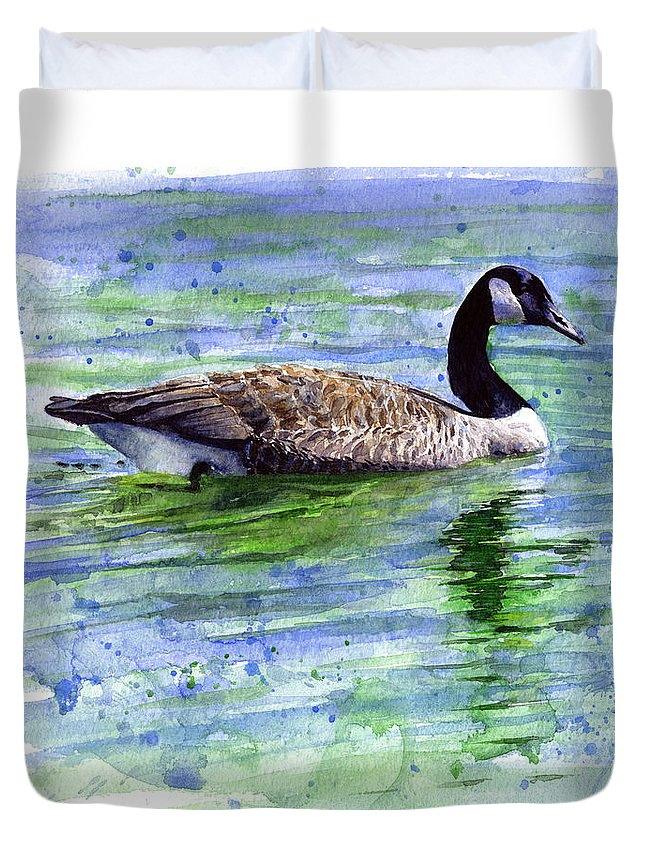 Bird Duvet Cover featuring the painting Canada Goose by John D Benson