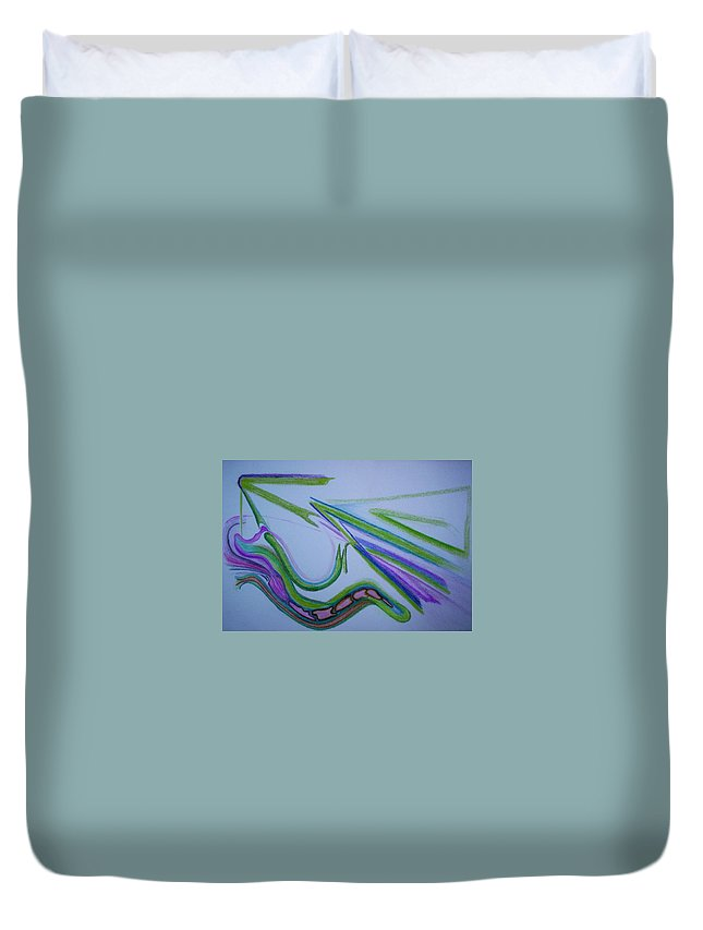 Abstract Duvet Cover featuring the drawing Canal by Suzanne Udell Levinger