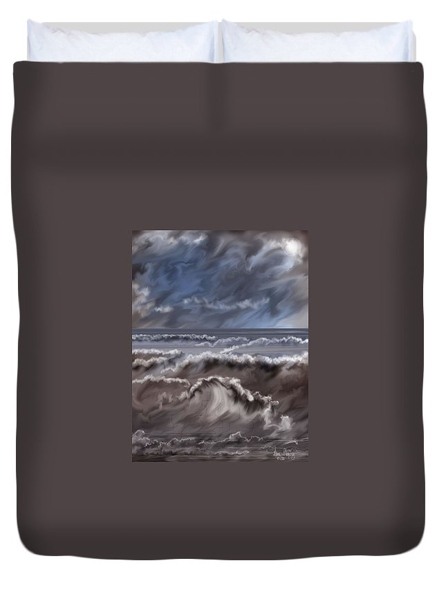 Seascape Duvet Cover featuring the painting Caramel Seas by Anne Norskog