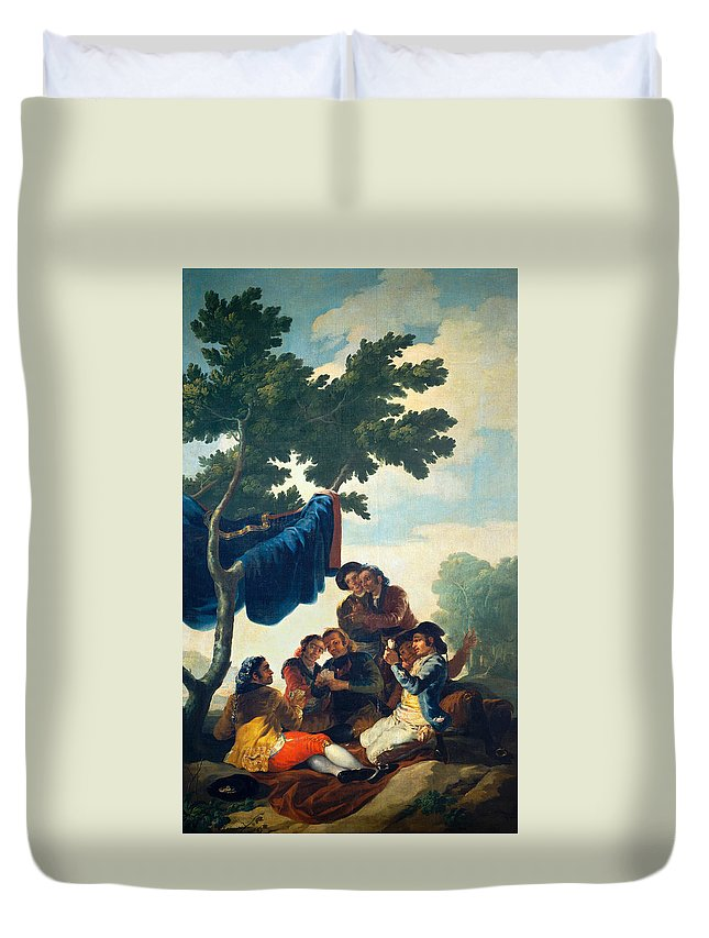 Card Players Duvet Cover featuring the painting Card Players by Francisco Goya