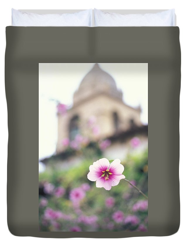 Missions Photos Duvet Cover featuring the photograph Carmel Mission With Flowers by Kathy Yates