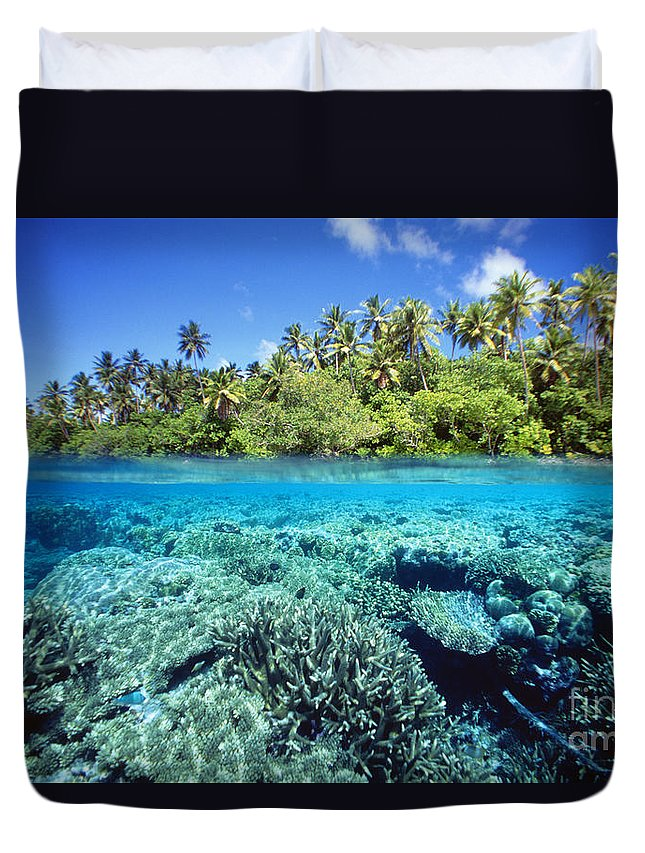 Above Duvet Cover featuring the photograph Caroline Islands, Pohnpei by Dave Fleetham - Printscapes
