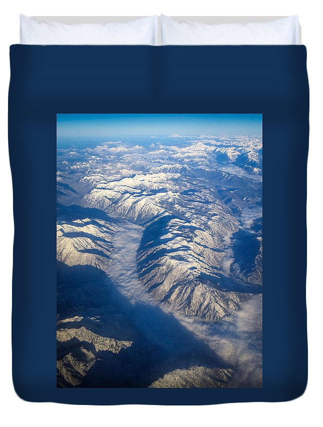 Cascades Duvet Cover featuring the photograph Cascade Mountains by Jeri Vaughn