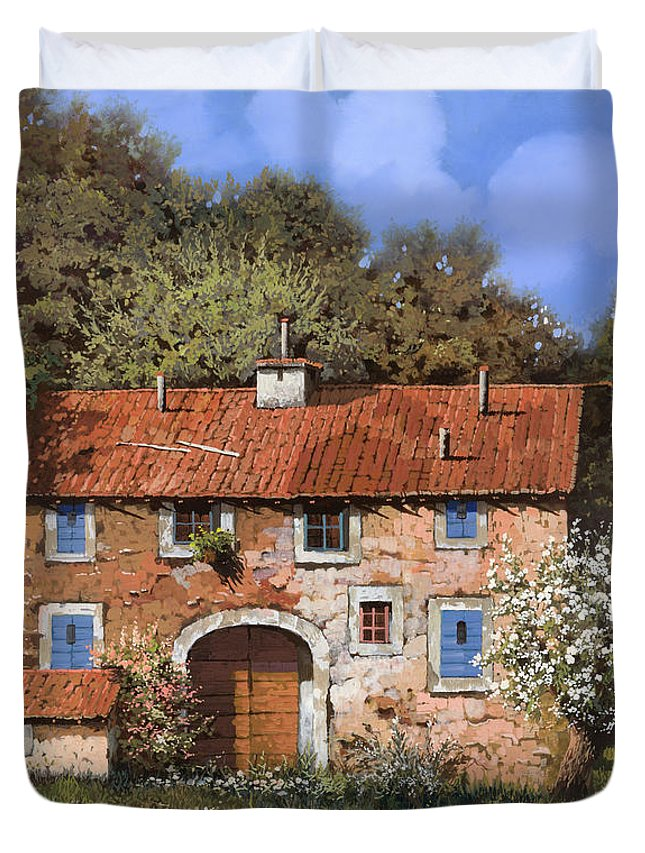 Farm Duvet Cover featuring the painting Casolare A Primavera by Guido Borelli