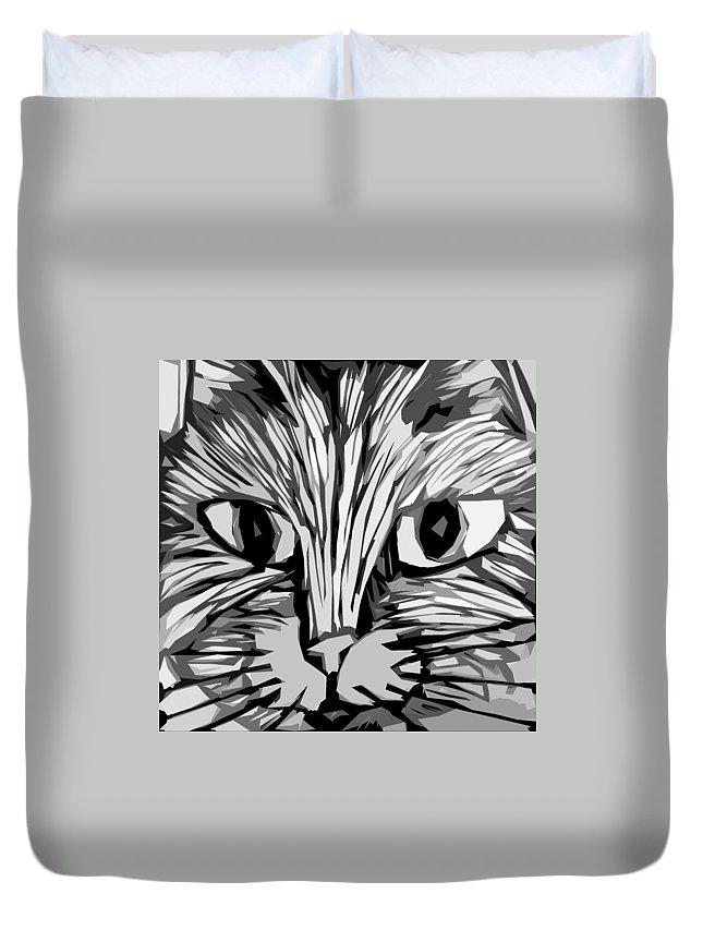 Cats Duvet Cover featuring the digital art Cat by Michelle Calkins