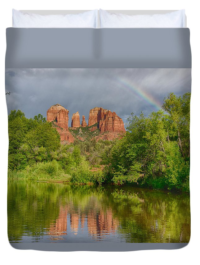 Cathedral Rock Duvet Cover featuring the photograph Cathedral Rock Rainbow by Craig Voth