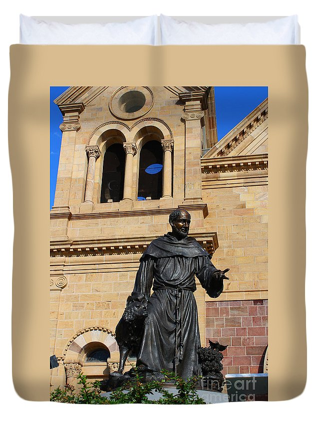Catholic Duvet Cover featuring the photograph Catholic Cathedral Sante Fe Nm by Tommy Anderson