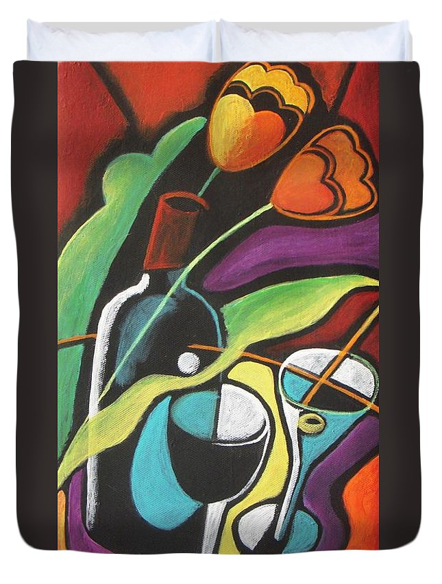 Vine Duvet Cover featuring the painting Celebration by Vesna Antic