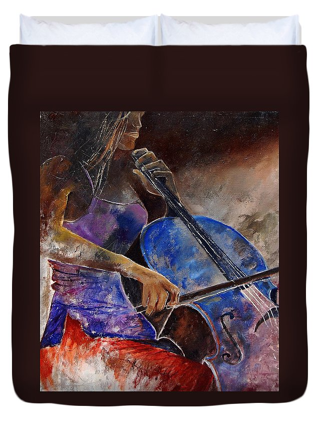Music Duvet Cover featuring the painting Cello Player by Pol Ledent