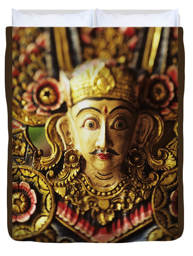 Asian Cultural Art Duvet Cover featuring the photograph Ceremonial Mask by Dana Edmunds - Printscapes