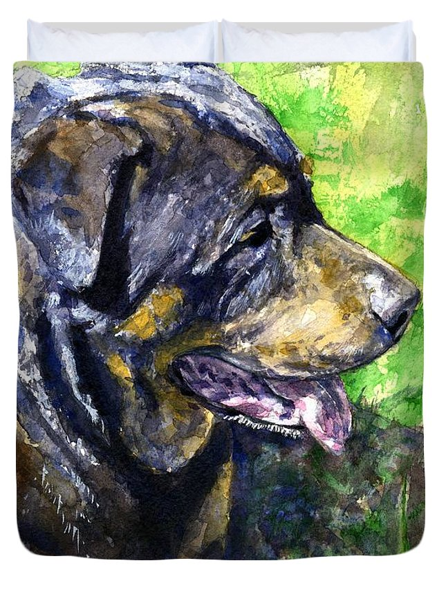 Rottweiler Duvet Cover featuring the painting Chaos by John D Benson