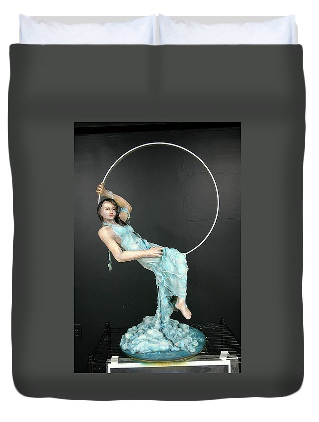 Duvet Cover featuring the sculpture Charles Hall - Creative Arts Program - New Moon by Wayne Pruse