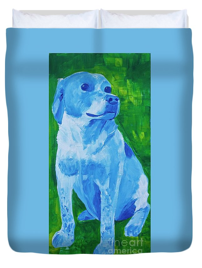 Pet Duvet Cover featuring the painting Charlie by Donna Howard