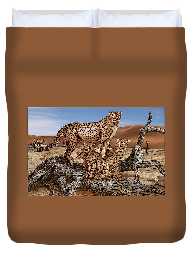 Cheetah Family Tree Duvet Cover featuring the drawing Cheetah Family Tree by Peter Piatt
