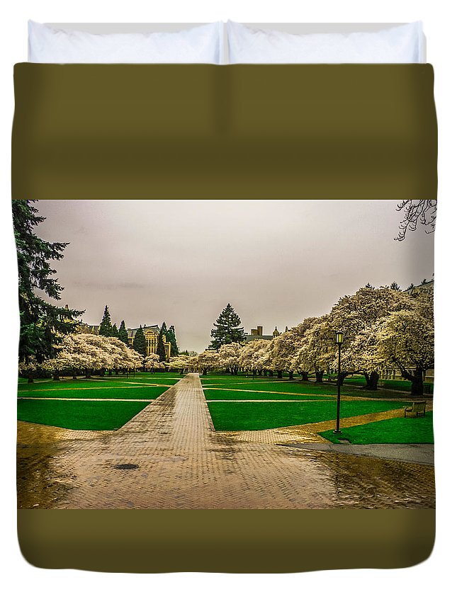 Cherry Trees Duvet Cover featuring the photograph Cherry Blossoms by Jerry Cahill