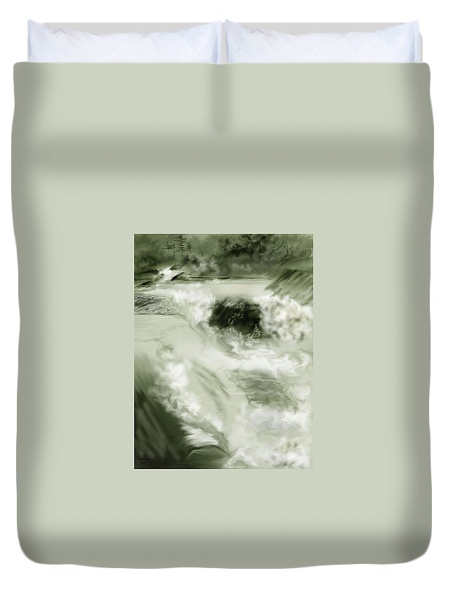 White Water Landscape Duvet Cover featuring the painting Cherry Creek White Water by Anne Norskog