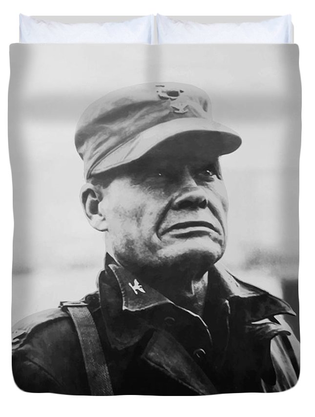 Chesty Puller Duvet Cover featuring the painting Chesty Puller by War Is Hell Store
