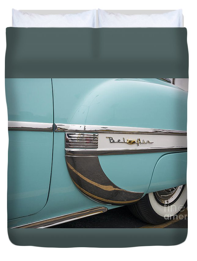 Americana Duvet Cover featuring the photograph Chevrolet Bel Air by John MacLean