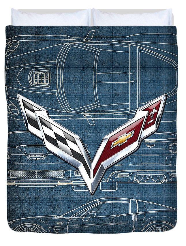 �wheels Of Fortune� By Serge Averbukh Duvet Cover featuring the photograph Chevrolet Corvette 3 D Badge Over Corvette C 6 Z R 1 Blueprint by Serge Averbukh