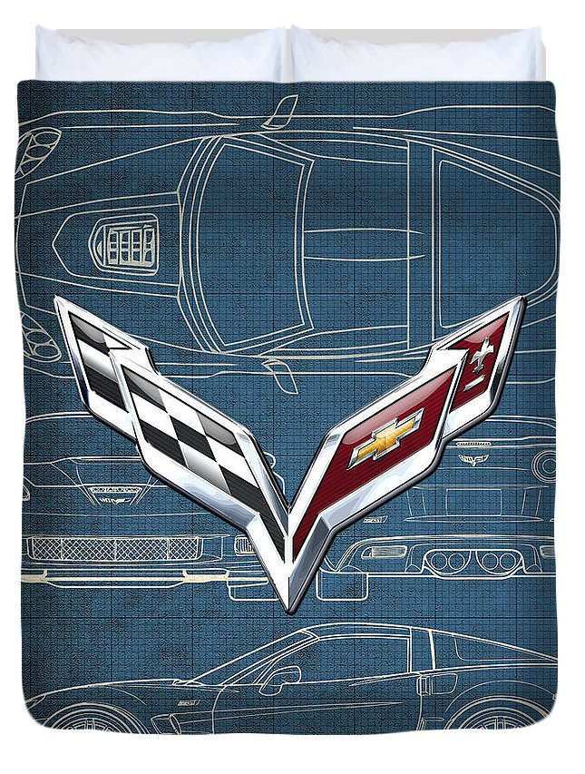 �wheels Of Fortune� By Serge Averbukh Duvet Cover featuring the photograph Chevrolet Corvette 3 D Badge Over Corvette C 6 Z R 1 Blueprint by Serge Averbukh