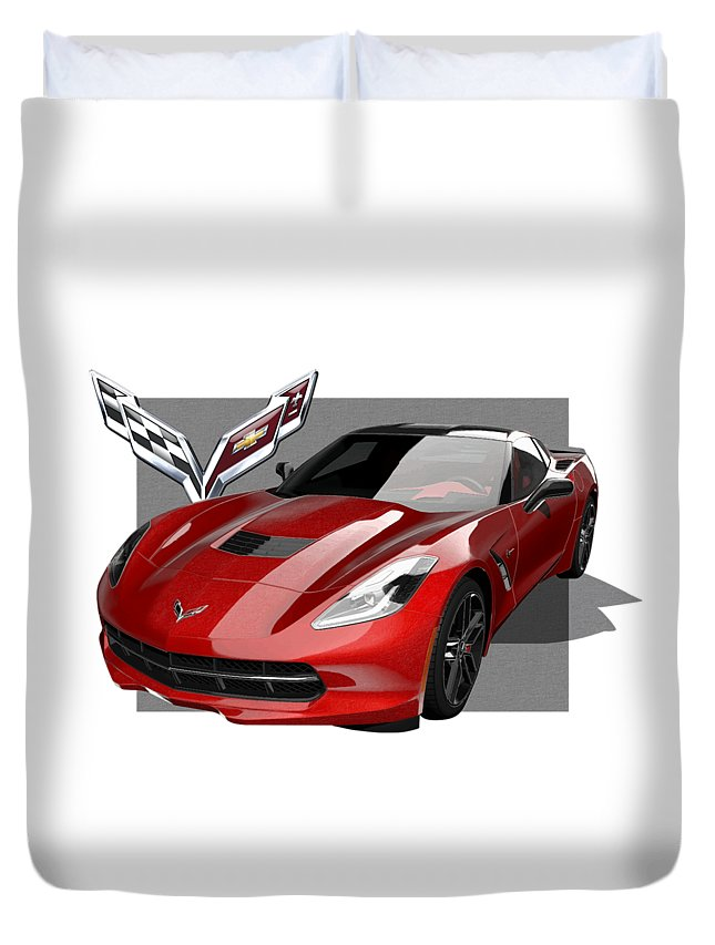 �chevrolet Corvette� By Serge Averbukh Duvet Cover featuring the photograph Chevrolet Corvette C 7 Stingray With 3 D Badge by Serge Averbukh