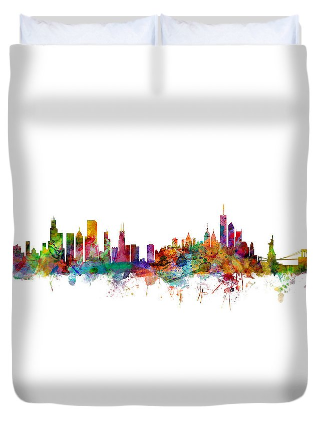 Chicago Duvet Cover featuring the digital art Chicago And New York City Skylines Mashup by Michael Tompsett