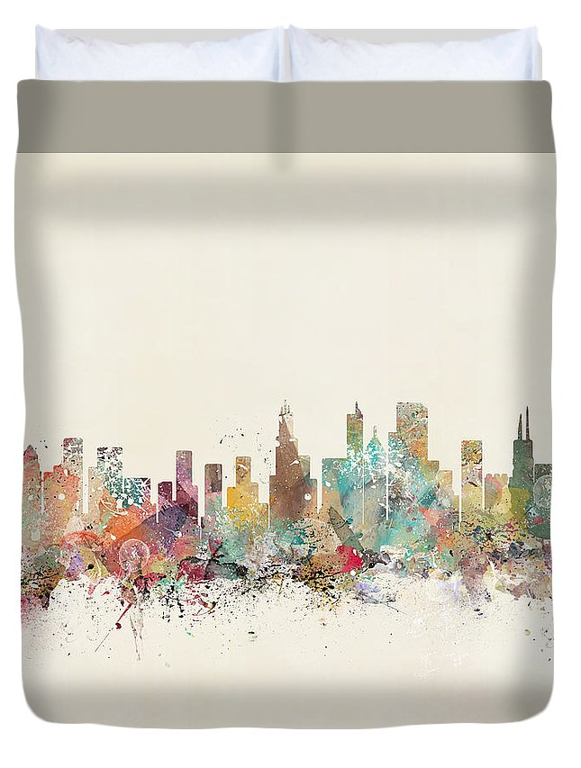 Chicago City Skyline Duvet Cover featuring the painting Chicago City by Bri Buckley