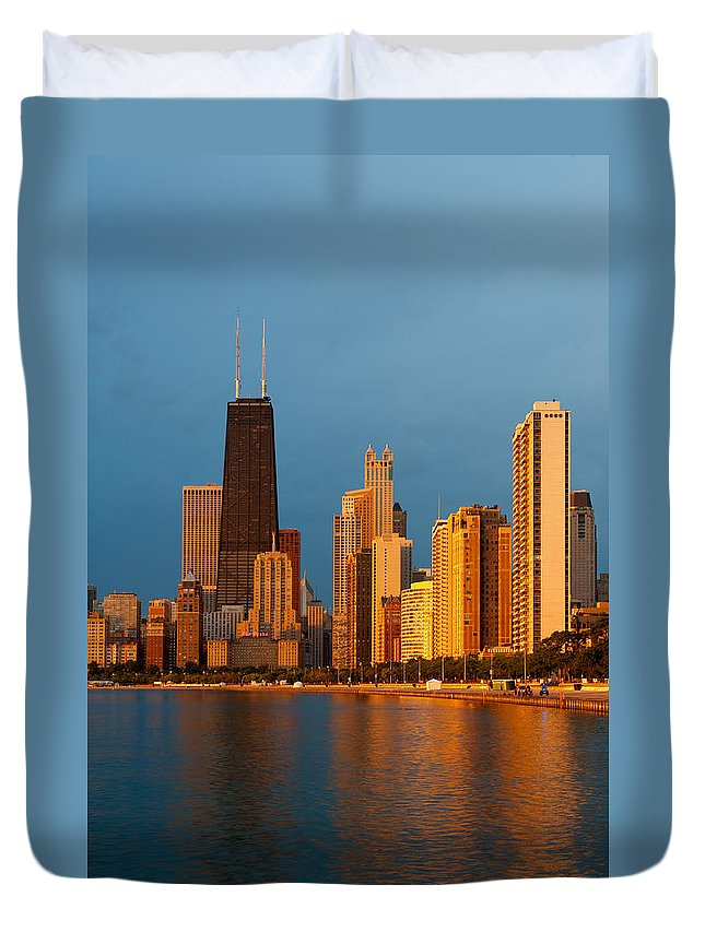 Chicago Duvet Cover featuring the photograph Chicago Skyline by Sebastian Musial