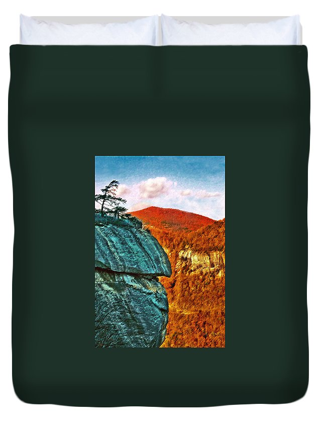 Landscape Duvet Cover featuring the painting Chimney Rock by Steve Karol