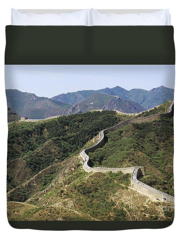 Afar Duvet Cover featuring the photograph China, Mu Tian Yu by Gloria & Richard Maschmeyer - Printscapes