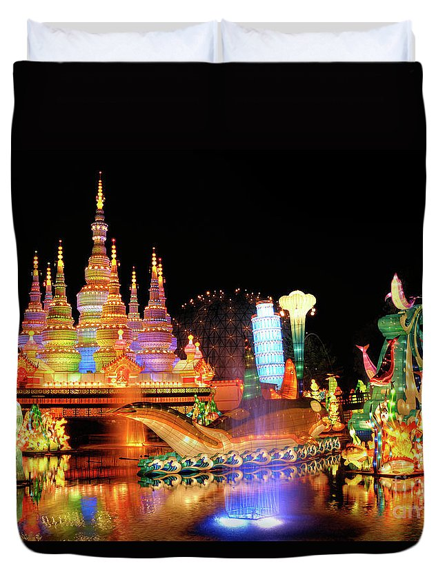 Chinese Lantern Festival Duvet Cover featuring the photograph Chinese Lantern Festival by Oleksiy Maksymenko