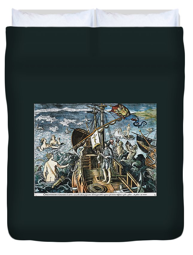 15th Century Duvet Cover featuring the photograph Christopher Columbus by Granger