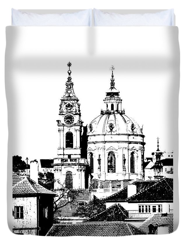 Prague Duvet Cover featuring the drawing Church Of St Nikolas by Michal Boubin