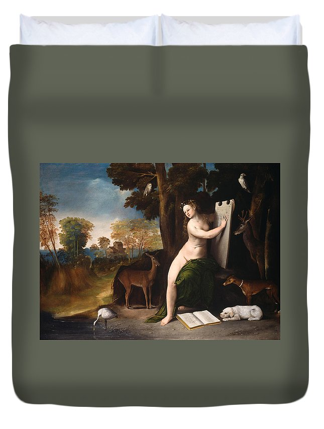Circe And Her Lovers In A Landscape Duvet Cover featuring the painting Circe And Her Lovers In A Landscape by Dosso Dossi