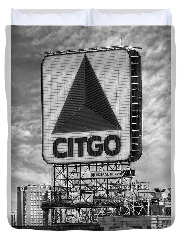 Citgo Duvet Cover featuring the photograph Citgo Sign Kenmore Square Boston by Susan Candelario
