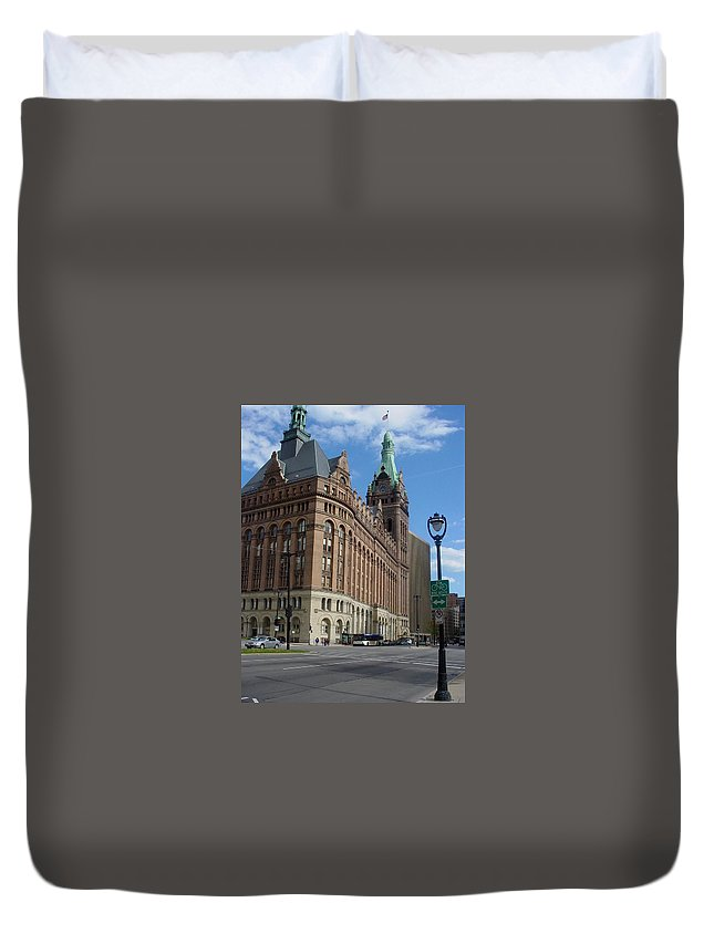 Milwaukee Duvet Cover featuring the photograph City Hall And Lamp Post by Anita Burgermeister