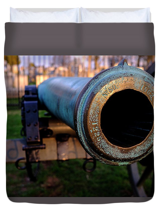 Mclenaghan Duvet Cover featuring the photograph Civil War Cannon 1862 In Gettysburg Pa by Travel Back And Forth
